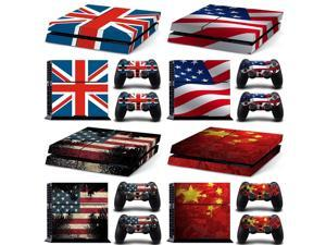 for PS4 Whole Body Vinyl Skin Sticker Decal Cover for Playstation 4 System Console and Controllers - The Flag of the US UK FLAG