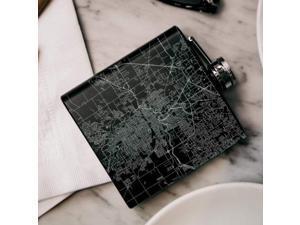Fort Wayne - Indiana Map Hip Flask in Matte Black