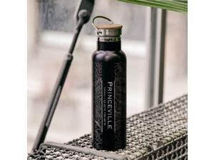 Princeville - Hawaii Map Bottle with Bamboo Top in Matte Black