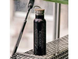 Cincinnati - Ohio Map Bottle with Bamboo Top in Matte Black