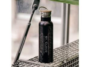 St. Cloud - Minnesota Map Bottle with Bamboo Top in Matte Black