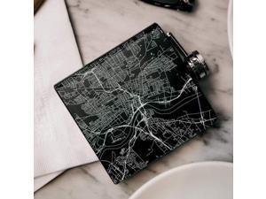 Hartford - Connecticut Map Hip Flask in Matte Black