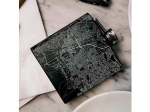 Albuquerque - New Mexico Map Hip Flask in Matte Black