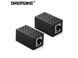 RJ45 Coupler 2 Pack In-Line Coupler Cat6/Cat5e Ethernet Cable Extender Adapter Female to Female (Black)