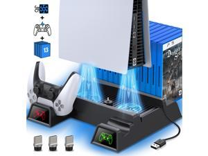 PS5 Cooling Stand For Playstation 5 Console, PS5 Stand with Cooling Fan and Dual Controller Chargers, PS5 Vertical Stand with Cooling Fan & 13 Game Storage for PS5 Digital Edition/Ultra HD