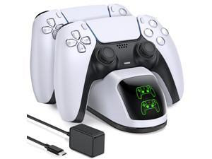 PS5 Charging Station, PS5 Controller Charger Station for Dualsense Controller, Upgrade PS5 Controller Charger with 5V/3A Fast Charging AC Adapter, PS5 Charger Stand for Dual Controller