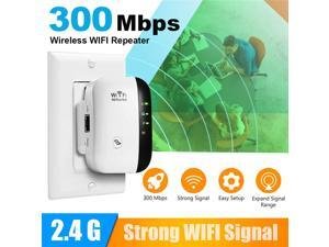 WiFi Extender Signal Booster, WiFi Range Extender, Up to 300Mbps Repeater, Access Point, 2.4G Network with Integrated Antennas LAN Port, Easy Set-Up