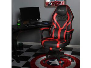 Eclife Gaming Chair Office Chair High Back Computer Chair Leather Desk Chair Ergonomic Adjustable Swivel Task Chair with Massage Lumbar Support and Footrest