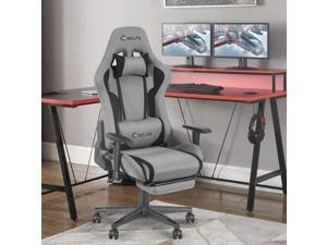 Eclife High Back Computer Game Chair with Adjustable Massage Lumbar Support and Headrest Racing Style Swivel Executive Office Desk Gaming Chair with Footrest