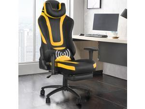 Eclife Ergonomic Video Game Chair PU Leather Computer Recliner Office Chair with Massage Lumbar Support and Removable Headrest  Footrest Gaming Chair
