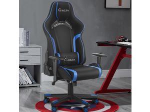 Eclife Ergonomic Recliner Massage Lumbar Support Padded Armrest Tilt Rock and Headrest Video Computer Gaming Chair
