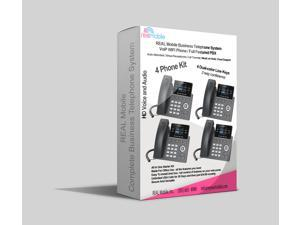 REAL Mobile 4 LINE  Business Telephone System , PBX and VoIP Phone for Home or Office, Includes Auto Attendant, Virtual Receptionist, Call Transfer, Music on Hold, Cloud Support with WIFI telephone