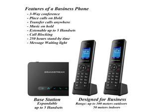 REAL Mobile 2 Cordless Phone System Voice Assistant, Call Blocking, Answering Machine| DECT Expandable to 5 Handsets|3-way conference |Long Range| Small Business Office Phone| First month service