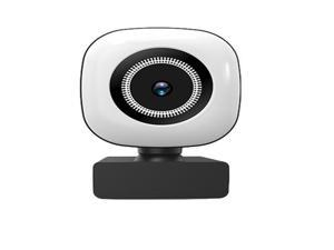 2K 1440P Streaming Webcam with Ring Light,Rotable Wide AngleWebcam with Microphone for Zoom Skype YouTube, PC Laptop Computer
