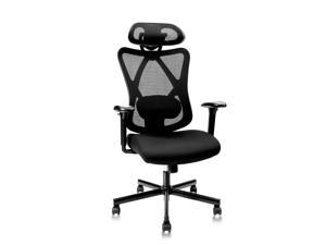 CLATINA Ergonomic Mesh Office Chair High Back Computer Desk Chair with Adjustable Head Arm Rest and Lumbar Support Executive Task Chair for Home Office and Gaming (Black)