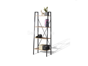 4-Tier Wooden Ladder Shelf for Books and Plants, Bookshelf Bookcase Display Storage Balcony Wall Cabinet Shelving Multiple Flower Pot Organizer