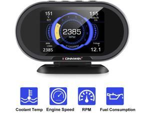 KONNWEI KW206 Car OBD2 HUD Digital Meter RPM Gauge All in One Automotive Trip Computer Smart OBD Speedometer Tachometer Water Temperature Fuel Pressure Tester for All 1996 and Newer Cars