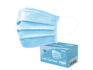 Medtecs Disposable Face Mask, 3 layer Breathable Masks, CoverU Blue 50pc