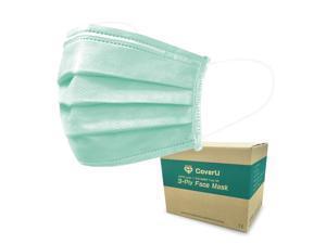 Medtecs Disposable Face Mask, 3 layer Breathable Masks, CoverU Green, 2000 pcs per pack