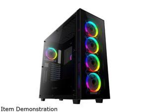 anidees AI Crystal XL AR V3 Tempered Glass Full Tower ATX Case with 5 RGB Fans and 2 LED Light strip - Black