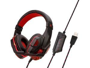 YINSY Newest 7.1 Gaming Headset,USB Over-Head Headphones with Noise Canceling Mic Volume Control & LED Light,Compatible with PC, PS4 Console, Laptop,Red