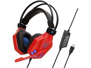 YINSY Gaming Headset,USB 7.1 Headphones with Noise Canceling Mic Volume Control & LED Light,Compatible with PC, PS4 Console, Laptop,Red