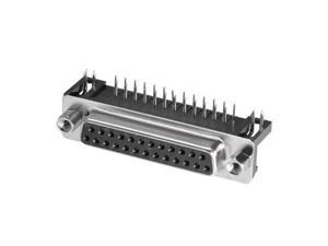 D-sub Connector Female Socket 25-pin 2-row Right Angle Port Terminal Breakout for Mechanical Equipment Black Pack of 1