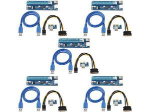 Onvian Mining Dedicated Graphics Card PCI-E 1X to 16X Riser Card 164P with 6 Pin to SATA Power Supply USB 3.0 Cable 5 Pack