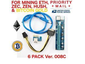 30 X PCI-E Adapter 1X to 16X Ver 008C Mining GPU Riser 6 pin ETH ZEC USA SHIP
