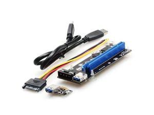 PCI-E PCIE PCI 1X To 16 X Express Graphics Riser Card Adapter 15 Pin To 4 Pin With USB 3.0 Cords 60cm Cable for BTC Mining