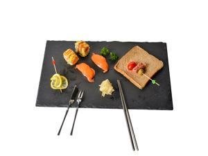 YCD Ziran Black Rectangle Slate Cheese Boards Solid Stone Tray Charcuterie Boards, Cheese and Meat Serving Board for Home, Restaurant,Cafe Use