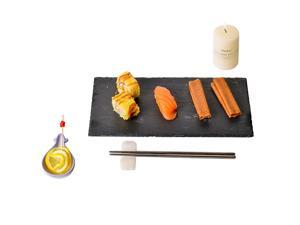 """Ziran  Slate Cheese Boards with Natural Cut Edges. Perfect Slate Serving Tray for Cheese,Cupcakes,Fruits,Snacks,Biscuits,Steak,Bacon,Sushi (15.7""""x 7.9"""" In)"""