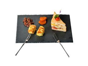 YCD Ziran Black Slate Cheese Boards Solid Stone Tray Charcuterie Boards, Cheese and Meat Serving Board for Home, Restaurant,Cafe Use (Rectangle 11.8x7.9inch)