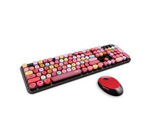 Wireless Keyboard and Mouse Combo, 2.4G USB Multi-Color Cute Full Size Keyboard and Optical Mice Set for Computer Desktop PC Laptop