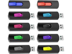 VICFUN 10 Pack 128MB USB Flash Drives USB 2.0 Flash Drive Slide Retractable USB Memory Stick 128MB, Multi-Color Pack
