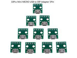 10Pcs Mini MICRO USB To DIP Adapter 5pin Female Connector B Type PCB Converter Breadboard Switch Board SMT Mother Seat