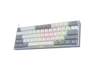 Redragon K617 Fizz 60% Wired RGB Gaming Keyboard, 61 Keys Compact Mechanical Keyboard w/White and Grey Color Keycaps, Linear Red Switch, Pro Driver/Software Supported