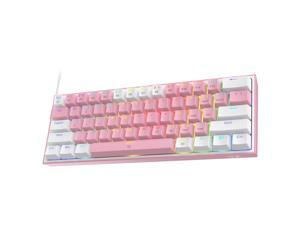 Redragon K617 Fizz 60% Wired RGB Gaming Keyboard, 61 Keys Compact Mechanical Keyboard w/White and Pink Color Keycaps, Linear Red Switch, Pro Driver/Software Supported