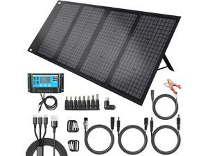 Abeden 120Watt Foldable Solar Panel Charger Compatible with Most Portable Solar Generator Power Station, Compact Solar Charging Kit with 5V USB/18V DC/Solar Controller for iPhone, Laptop, Camera