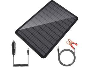 Abeden 12 Volts 10 Watts Solar Battery Charger, Portable Power Solar Panel Backup Solar Trickle Charger for Car Boat Automotive RV with Alligator Clip