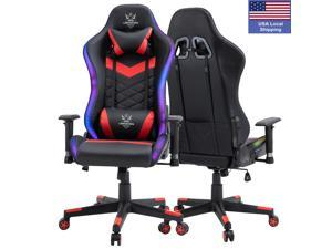 RGB Lighting Gaming Chair, Reclining Backrest and Seat Height Adjustment Racing Computer Office Chair with Lumbar Support and Adjustable Armrest, Ergonomic High Back PU Swivel Game Chair -No Bluetooth