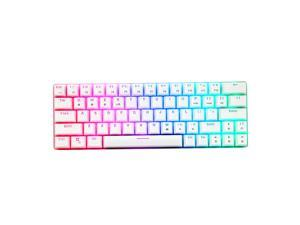 HUO JI CQ63 63 Keys RGB Wireless Mechanical Gaming Keyboard, RGB LED Backlit, Bluetooth 5.0, Red Switches, USB Wired, 60% Keyboard for PC, Laptop, Mac, iPad, Smartphone(White)