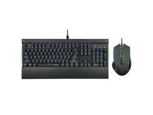 E-YOOSO Z-727 Mechanical Gaming Keyboard and Mouse Combo, Keyboard with LED Backlit, 104 Keys Anti-Ghosting, Detachable Wrist Rest, Mouse with RGB Backlit, Adjustable DPI for PC/Laptop (Black, Black)