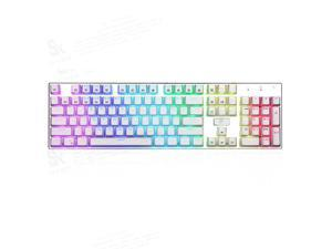 E-YOOSO Z-88 RGB Wired Mechanical Gaming Keyboard, RGB LED Backlit, Full Size ,104 Keys Anti-Ghosting, Mechanical Red Switches-Linear&Quiet, Splash-Proof, for PC/Laptop(White)