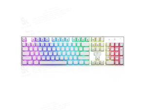 E-Yooso Z-88 104 Keys Full Size Mechanical Gaming Keyboard Anti-Ghosting, With Tactile&Clicky Blue Switches, Wired Keyboard, RGB LED Backlit, Splash-Proof, for PC Gamer or Office (White)