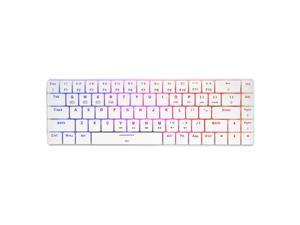 HUO JI CQ009 69 Keys RGB Wireless Mechanical Gaming Keyboard, RGB LED Backlit, Bluetooth 4.0, Brown Switches, USB Wired, 60% Keyboard for PC, Laptop, Mac, iPad, Smartphone (White)