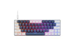 CQ63 60% Compact RGB Wireless Mechanical Gaming Keyboard, Bluetooth 5.0, Red Switches, Wired Keyboard 63 Keys for PC Tablet Laptop Cell Phone,Blue White