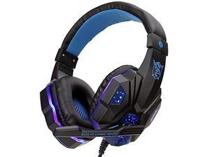 Stereo Gaming Headset for PS4, PC, Xbox One Controller, Noise Cancelling Over Ear Headphones with Mic,Bass Surround, Soft Memory Earmuffs for Laptop Mac Nintendo PS3 Games