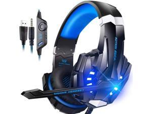 G9000 Stereo Gaming Headset for PS4 PC Xbox One PS5 Controller, Noise Cancelling Over Ear Headphones with Mic, LED Light, Bass Surround, Soft Memory Earmuffs for Laptop Mac Nintendo NES Games