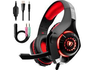 Gaming Headset for PS4, Xbox One Controller, PC, Over Ear Headphones with Noise Cancelling Mic, Soft Memory Earmuffs, LED Light, Stereo Bass Surround Sound for Nintendo Switch Laptop Mac